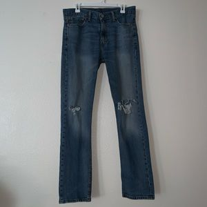 Levi's (34 x 32) 513 SlimStraight Distressed Jeans